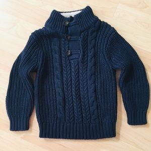 Baby Gap chunky knit navy blue sweater Fleece trim